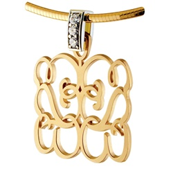 Reflections Diamond Monogram Pendant - 14K Yellow & White