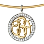 Diamond-Bezel Monogram Medallion - 14K Yellow & White