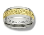 Wide Meadows Sculpted Band - 14K Yellow & Platinum