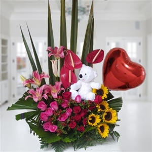 Exotic arrangement with teddy bear and balloon