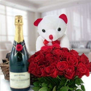 Roses, wine & teddy bear