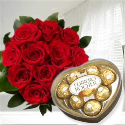 Roses bouquet and Ferrero Rocher chocolates