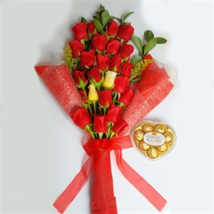 24 red roses bouquet with chocolates