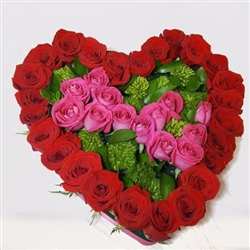 38 red & pink roses heart shape