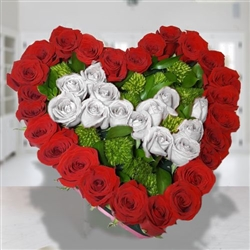 38 red & white roses heart shape