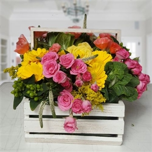 Basket of yellow & pink roses