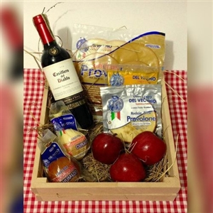 Wine cheese fruit basket
