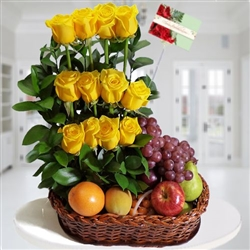 One dozen yellow roses and fruits baskets