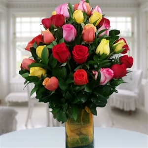 36 roses mixed colors in glass vase