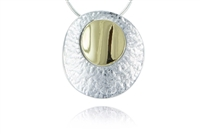 CIRCULAR TEXTURED FINISH TWO-TONE NECKLACE