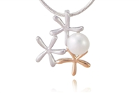 TWO-TONE DAINTY PEARL STARFISH NECKLACE