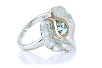 BLUE TOPAZ TEXTURED LILY RING