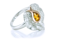 CITRINE TEXTURED LILY RING