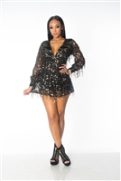 Black Flowing Sequins Long Sleeves Romper