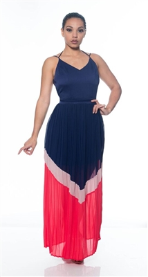 Navy Chiffon Pleated Maxi Dress