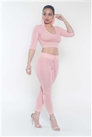 Pink two piece hoodie set