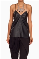 Faux leather Shoe Lace Detail Tank Top