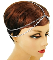 Rhinestone Silver  Layered Head Chain.