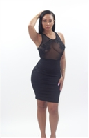 Black dress with mesh detail body con
