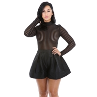 Black see through romper