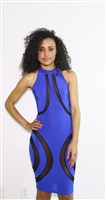 Royal blue with mesh detail body con
