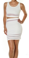 White two piece with semi sheer detail.