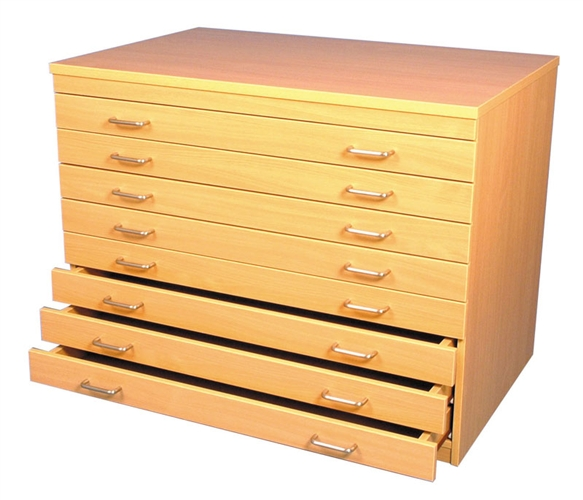 A1 Paper Storage Unit Beech 8 Drawers