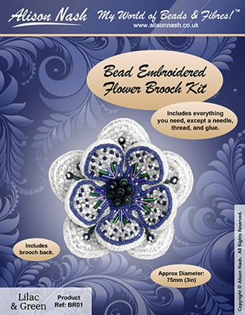 BEADING KITS > Beaded Brooch - Flower - Lilac and Green
