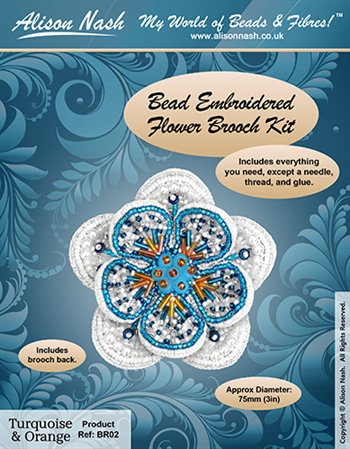 BEADING KITS > Beaded Brooch - Flower - Turquoise and Orange
