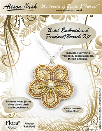 BEADING KITS > Beaded Pendant - Flora - Gold