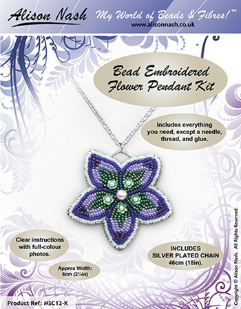 BEADING KITS > Bead Embroidered Flower Pendant