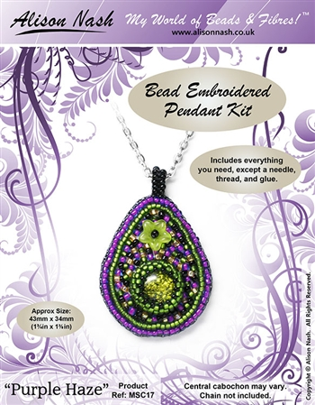 BEADING KITS > Bead Embroidered Pendant - Purple Haze