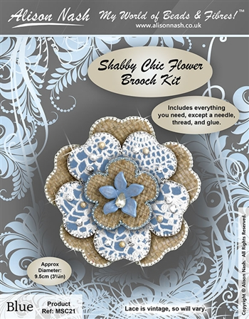 Bead Kit - Shabby Chic Flower Brooch - Blue