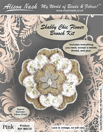 Bead Kit Shabby Chic Flower Brooch Pink and Beige