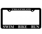 Triathlon Licence Plate Frame, Swim Bike Run