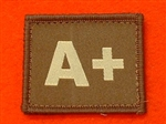 Desert Blood Group Patch A+ ( Sand Combat A+ Badge ) Velcro Backed