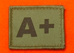 A+ Combat Blood Group Patch ( Velcro Backed ) Olive Green A+ Badge