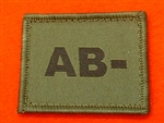 AB- Combat Blood Group Patch ( Velcro Backed ) Olive Green AB- Badge