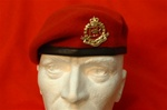 RMP Beret + Metal RMP Beret Badge ( High Quality Leather Banded Silk lined Red RMP Berets )