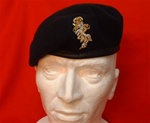 Officers REME Leather Banded Beret + Hand Embroiderd Beret Badge ER 11 ( REME Officers Silk Lined Beret )