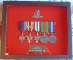 Military Medal Box Frame Design 52 Dark Wood Finish + One Metal Badge + Engraved Plaque.