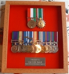 Military Medal Box Frame Design 53 Beech Veneer Wood Finish To Fit 2 x Medal Groups + Engraved Plaque.