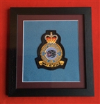 RAF 1 Group HQ Embroidered Crest Framed in Black Wood Frame