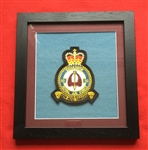 RAF 10 SQN Embroidered Crest Framed in Black Wood Frame