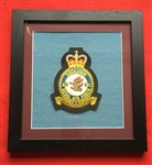 RAF 11 SQN Embroidered Crest Framed in Black Wood Frame