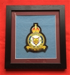 RAF 12 SQN King's Badge Embroidered Crest Framed in Black Wood Frame