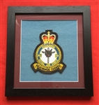 RAF 13 SQN Embroidered Crest Framed in Black Wood Frame