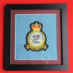 15 SQN RAF Regiment Official Crest Embroidered Badge Framed in Black Wood Frame