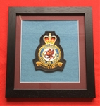 RAF 18 SQN Official Crest Embroidered Badge Framed in Black Wood Frame