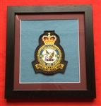 RAF 28 SQN Embroidered Crest in Black Wood Frame